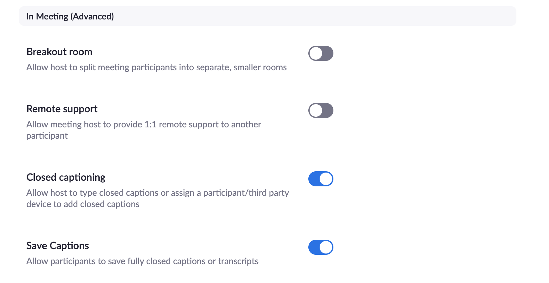 Turning on closed captioning for Zoom meetings and webinars in the Zoom settings