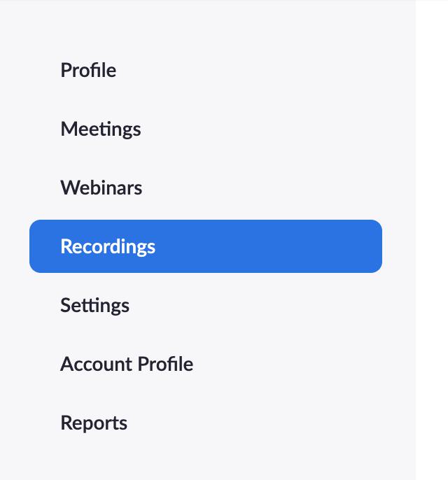 Clicking recordings in one's personal Zoom account