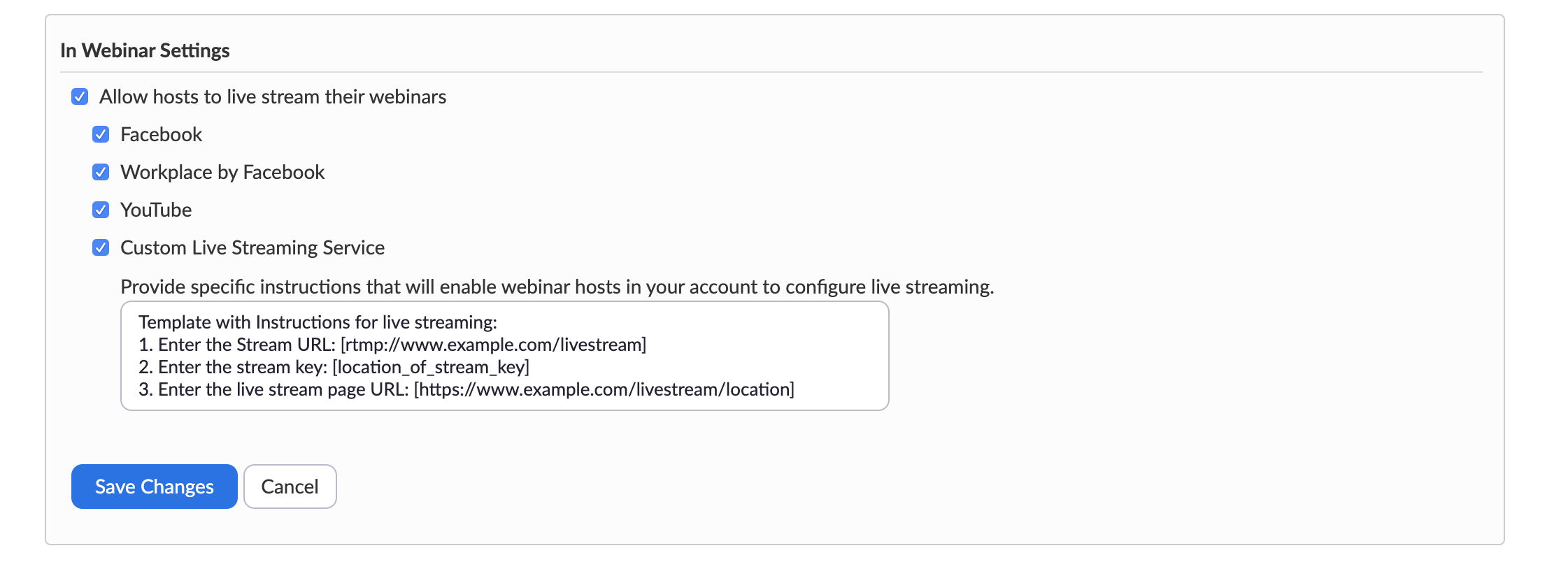In Webinar Settings, where one can select allow live streaming and custom live streaming service